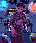 1boy 2girls absurdres aerial_fireworks black_hair blue_nails festival fireworks highres japanese_clothes kimono lantern looking_at_viewer multiple_girls original paper_lantern print_kimono school_uniform serafuku shi-masu sitting smile squatting water_yoyo