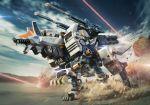 command_wolf dust explosion firing highres igarashi_kazuya laser mecha no_humans open_mouth shoulder_cannon solo walking zoids
