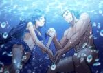 1boy 1girl bangs bare_shoulders blonde_hair blue_eyes breasts brown_hair chest chest_hair couple cowboy_shot facial_hair frilled_swimsuit frills green_eyes grin hair_ornament hairy hetero highres holding_hands long_hair male_focus male_swimwear manly multicolored_hair muscle one_eye_closed otohime_(tokyo_houkago_summoners) pectorals short_hair sideburns smile streaked_hair swim_briefs swimsuit swimwear tokyo_houkago_summoners underwear water yamasachihiko_(tokyo_houkago_summoners) yoshinaga_haru