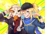 2girls ahoge artoria_pendragon_(all) bangs baseball_cap black-framed_eyewear black_legwear blonde_hair blue_eyes blue_jacket blue_scarf blush braid emotional_engine_-_full_drive eyebrows_visible_through_hair fate/grand_order fate_(series) food food_in_mouth glasses hair_between_eyes hat highres holding jacket long_hair looking_at_viewer meimuu mouth_hold multiple_girls mysterious_heroine_x mysterious_heroine_x_(alter) plaid plaid_scarf ponytail red_scarf scarf track_jacket yellow_eyes