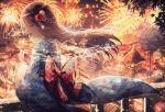 1girl aerial_fireworks afterimage brown_hair cityscape closed_eyes fireworks fish flower hair_flower hair_ornament japanese_clothes kimono lantern long_hair night noyu23386566 obi open_mouth original outdoors sash sparkler wide_sleeves yukata