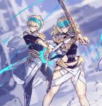 1boy 1girl armor bangs black_shirt blonde_hair blue_eyes blurry blurry_background bracelet bracer breasts brother_and_sister castor_(fate/grand_order) chakram collar diadem fate/grand_order fate_(series) highres jewelry looking_to_the_side medium_hair melon22 metal_collar pauldrons pollux_(fate/grand_order) shirt short_hair shoulder_armor siblings small_breasts smile sword thighs twins weapon white_robe