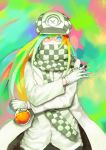 1girl alchemist alchemy beaker black_scarf blonde_hair blue_eyes blue_hair checkered checkered_clothing checkered_scarf coat covered_mouth gloves goblina green_hair hat heterochromia highres holding light_green_hair liquid long_hair multicolored multicolored_hair orange_hair original rainbow_hair red_eyes redhead scarf solo standing vial white_coat white_gloves white_headwear white_scarf