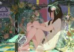 1girl bangs barcode_tattoo barefoot black_hair braid bubble closed_mouth commentary_request crossed_ankles dress fish flower highres leaf long_hair looking_to_the_side original side_slit sidelocks sitting tattoo xilmo