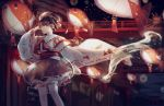1girl aerial_fireworks animal_print blurry blurry_background bridge brown_hair fireworks fish_print goldfish_print highres hishaku lantern night original outdoors paper_lantern red_eyes red_skirt ribbon-trimmed_sleeves ribbon_trim ruoruomi short_hair skirt solo standing summer_festival thigh-highs torii water white_legwear wide_sleeves wind_chime