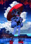 1girl architecture bag choker clouds cloudy_sky east_asian_architecture fate/grand_order fate_(series) fuuna_(conclusion) handbag highres looking_at_viewer multicolored_hair nail_polish one_eye_closed oriental_umbrella petals sei_shounagon_(fate) short_twintails sky solo twintails umbrella yellow_eyes