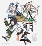 3girls ainu_clothes akitsushima_(kantai_collection) anchor_hair_ornament antenna_hair armpit_cutout bandaged_leg bandages bangs basket black_hair black_skirt breasts crate drum_(container) earrings fairy_(kantai_collection) folded_ponytail fur_trim gloves grey_background grey_hair hair_ornament hair_ribbon hat hayasui_(kantai_collection) headband jacket jewelry kamoi_(kantai_collection) kantai_collection kneehighs large_breasts leg_garter long_hair mini_hat multiple_girls one_eye_closed open_mouth pleated_skirt ponytail ribbon shimin short_hair side_ponytail simple_background skirt small_breasts thigh-highs track_jacket twitter_username white_gloves white_hair