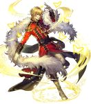 1boy alternate_costume blonde_hair boots bug butterfly dancing eldigan_(fire_emblem) epaulettes feather_boa fire_emblem fire_emblem:_genealogy_of_the_holy_war fire_emblem_heroes full_body fur_trim gloves highres insect medium_hair official_art polearm solo sparkle spear transparent_background weapon yellow_eyes