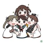 4girls ayanami_(kantai_collection) bikini blue_sailor_collar brown_sailor_collar cheek-to-cheek closed_eyes commentary_request facing_viewer hair_over_shoulder kantai_collection long_hair multiple_girls ponytail sailor_collar sendai_(kantai_collection) shikinami_(kantai_collection) short_hair side-tie_bikini simple_background smile swimsuit tsubutarou two_side_up uranami_(kantai_collection) white_background