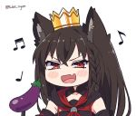 1girl :d animal_ears black_hair blush braid chibi commentary crown dark_persona eggplant fang fox_ears hololive kukie-nyan kurokami_fubuki long_hair musical_note open_mouth red_eyes simple_background smile solo twitter_username upper_body virtual_youtuber white_background