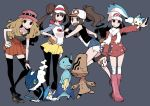 4girls beheeyem black_legwear blue_background blue_hair boots brown_hair dawn_(pokemon) denim denim_shorts dewott double_bun dowman_sayman frogadier gen_4_pokemon gen_5_pokemon gen_6_pokemon hair_ornament hat hilda_(pokemon) holding holding_poke_ball jacket light_brown_hair long_hair long_sleeves multiple_girls open_mouth pachirisu pantyhose poke_ball pokemon pokemon_(creature) pokemon_(game) pokemon_bw pokemon_bw2 pokemon_dppt pokemon_xy raglan_sleeves rosa_(pokemon) scarf serena_(pokemon) shirt shorts simple_background skirt sleeveless smile thigh-highs vest visor_cap white_legwear white_scarf