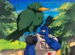1980s_(style) animal animal_on_shoulder autobot beachcomber_(transformers) beak bird bird_on_shoulder blue_sky feathers forest highres marble-v mecha mountainous_horizon nature oldschool oversized_animal pointing sky transformers tree visor