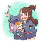3girls blonde_hair brown_eyes brown_hair eyebrows_visible_through_hair glasses green_eyes hat holding kagari_atsuko little_witch_academia long_hair looking_at_viewer lotte_jansson mago multiple_girls mushroom pale_skin purple_hair round_teeth standing sucy_manbavaran symbol_commentary teeth twitter_username uniform upper_teeth witch_hat