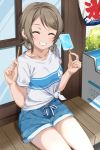 1girl :d bangs brown_hair collarbone eyebrows_visible_through_hair feet_out_of_frame food freezer gorilla-shi grin highres holding holding_food love_live! love_live!_sunshine!! open_mouth parted_bangs popsicle popsicle_stick shirt short_hair short_shorts short_twintails shorts sidelocks sitting smile solo t-shirt teeth thighs tied_shirt twintails watanabe_you white_shirt window