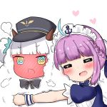 2girls :d =_= @_@ ahoge animal animal_hug animalization bailingxiao_jiu bangs black_bow black_headwear blue_dress blue_ribbon blush bow braid closed_eyes commentary_request crossover dress eyebrows_visible_through_hair fang full-face_blush hair_ribbon hat heart hololive hug kagura_mea kagura_mea_channel minato_aqua multiple_girls open_mouth peaked_cap puffy_short_sleeves puffy_sleeves purple_hair ribbon sheep short_sleeves sidelocks simple_background smile steam v-shaped_eyebrows virtual_youtuber white_background wrist_cuffs yuri
