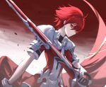 1boy armor bangs black_gloves closed_mouth commentary elsword elsword_(character) gloves holding holding_sword holding_weapon looking_at_viewer male_focus multicolored multicolored_clothes multicolored_gloves neon_(pixiv_31150749) puffy_short_sleeves puffy_sleeves red_eyes red_gloves red_shirt red_sky red_theme redhead serious shirt short_hair short_sleeves shoulder_armor shoulder_plates sky solo sword upper_body weapon