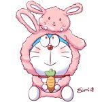 :> :3 absurdres animal_costume bunny_costume carrot chammy creature creature_on_head doraemon doraemon:_nobita_no_uchuu_kaitakushi doraemon_(character) full_body highres holding looking_at_another looking_at_viewer looking_away looking_up matching_outfit simple_background sitting smile sumi_(user_evka8372) white_background