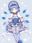 1girl alternate_costume alternate_hairstyle bangs blue_background blue_cape blue_eyes blue_footwear blue_hair blue_legwear blunt_bangs blush bonnet bow bowtie cape capelet cirno commentary_request cravat dress eyebrows_visible_through_hair fur-trimmed_cape fur_trim gothic_lolita hair_intakes head_tilt highres layered_dress lolita_fashion long_sleeves looking_at_viewer partial_commentary petticoat red_neckwear shirt short_hair simple_background smile solo sparkle_background thigh-highs thigh_gap tomo_takino touhou twitter_username underbust white_capelet white_neckwear white_shirt wings zettai_ryouiki