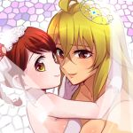 2girls blonde_hair bridal_veil bride dress elbow_gloves formal gloves looking_at_viewer lowres multiple_girls niina_ryou red_eyes redhead shikishima_mirei strapless strapless_dress tiara tokonome_mamori valkyrie_drive valkyrie_drive_-mermaid- veil wedding wedding_dress white_dress white_gloves wife_and_wife yellow_eyes yuri