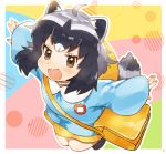 1girl ahoge animal_ears bag black_hair blonde_hair blue_shirt brown_eyes commentary common_raccoon_(kemono_friends) grey_hair highres kemono_friends kindergarten_bag kindergarten_uniform long_sleeves multicolored_hair name_tag open_mouth outstretched_arms raccoon_ears raccoon_girl raccoon_tail school_uniform shirt smile solo suicchonsuisui tail v-shaped_eyebrows
