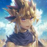 1boy atem commentary earrings egyptian_clothes headdress jewelry looking_at_viewer multicolored_hair open_mouth smile solo violet_eyes wenz yuu-gi-ou
