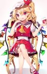 1girl ankle_socks arms_up bangs blonde_hair chair commentary_request cravat crossed_legs cup drinking_glass elbow_rest eyebrows_visible_through_hair fang fang_out flandre_scarlet foot_out_of_frame frilled_shirt_collar frills gradient gradient_background gunjou_row hand_on_own_cheek hat hat_ribbon head_tilt highres holding holding_cup looking_at_viewer mary_janes mob_cap nail_polish one_side_up petticoat pink_background puffy_short_sleeves puffy_sleeves red_eyes red_footwear red_nails red_skirt red_vest ribbon shadow shirt shoes short_hair short_sleeves skirt slit_pupils smile smirk solo swept_bangs touhou vest white_background white_headwear white_legwear white_shirt wine_glass wings yellow_neckwear