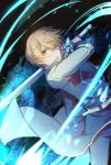 1boy belt blonde_hair blue_flower blue_jacket blue_pants blue_rose blue_rose_sword closed_mouth collared_jacket commentary_request eugeo flower green_eyes hair_between_eyes holding holding_sword holding_weapon jacket long_sleeves looking_at_viewer male_focus pants rose short_hair solo soroa sword sword_art_online sword_art_online:_alicization weapon white_belt