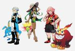 1girl 2boys arms_behind_back azumarill bare_shoulders bike_shorts black_hair dark_skin darmanitan darmanitan_(standard) flower gen_2_pokemon gen_5_pokemon gen_8_pokemon gossifleur grey_background grey_hair gym_leader hat highres kabu_(pokemon) kobayashi_(oksk0x0) legwear_under_shorts milo_(pokemon) multiple_boys nessa_(pokemon) pantyhose pink_hair poke_ball poke_ball_(basic) pokemon pokemon_(creature) pokemon_(game) pokemon_swsh sandals shirt shorts simple_background sun_hat tied_shirt towel towel_around_neck vest wristband