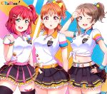 3girls :d :o absurdres ahoge arm_up arms_behind_back bangs belt black_legwear black_skirt blue_eyes blue_nails bow bracelet breasts brown_hair collared_shirt cowboy_shot cyaron_(love_live!) earrings fingerless_gloves gloves green_eyes hair_bow hair_ornament hairpin hand_on_hip hand_on_shoulder highres jewelry kurosawa_ruby large_breasts looking_at_viewer love_live! love_live!_sunshine!! matching_outfit medium_breasts midriff multiple_girls nail_polish navel one_eye_closed one_side_up open_mouth orange_hair pink_nails pleated_skirt ponytail red_eyes redhead salute shirt short_hair simple_background skirt smile star_(symbol) star_hair_ornament takami_chika thigh-highs tied_shirt tsumikiy watanabe_you white_shirt x_hair_ornament yellow_bow