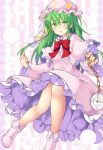 1girl aka_tawashi bad_anatomy bad_leg boots breasts capelet clock commentary_request crescent fingernails floral_background glowing_petals green_eyes green_hair hair_between_eyes hand_up hat highres kazami_yuuka kazami_yuuka_(pc-98) legs light_particles long_hair long_sleeves looking_at_viewer moon_print neck_ribbon nightcap nightgown open_mouth pajamas pink_background pink_footwear pink_headwear pink_nightgown pocket_watch pom_pom_(clothes) red_ribbon ribbon roman_numerals shiny shiny_clothes shiny_hair sidelocks small_breasts solo star_(symbol) star_print striped striped_background thighs touhou touhou_(pc-98) very_long_hair watch white_background wide_sleeves