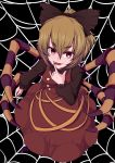 1girl \m/ benizuwai black_background blonde_hair bow brown_bow brown_dress brown_shirt commentary_request dress eyebrows_visible_through_hair hair_bow hair_ribbon highres insect_girl kurodani_yamame long_sleeves looking_at_viewer looking_up nail_polish open_mouth partial_commentary purple_nails red_eyes ribbon shirt silk smile solo spider_girl spider_legs spider_web thick_eyebrows touhou