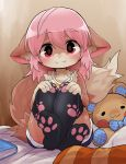 1girl animal_ear_fluff animal_ears bed black_legwear book camisole crossed_legs dagashi_(daga2626) denim denim_shorts fangs feet fox_ears fox_tail furry hands_on_own_knees highres knees_up legs long_hair looking_at_viewer original paw_print pillow pink_eyes pink_hair print_legwear short_shorts shorts sitting smile soles solo striped_camisole stuffed_toy tail thigh-highs thighs yellow_camisole