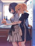 2girls blonde_hair blue_hair blush food furutani_himawari hair_ornament hairband hairclip highres hood hoodie hug hug_from_behind indoors kitchen multiple_girls oomuro_sakurako open_mouth ponytail refrigerator shortcake takahero yuri yuru_yuri