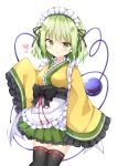 1girl :o adapted_costume apron arm_up bangs black_legwear blush breasts commentary_request contrapposto cowboy_shot eyebrows_visible_through_hair frilled_sleeves frills green_eyes green_hair green_skirt heart heart-shaped_pupils highres japanese_clothes kimono komeiji_koishi kuraaken looking_at_viewer maid_headdress medium_breasts obi petticoat pleated_skirt sash short_hair simple_background skirt sleeves_past_fingers sleeves_past_wrists solo symbol-shaped_pupils thigh-highs third_eye touhou wa_maid waist_apron white_background yellow_kimono