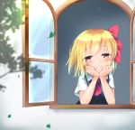 1girl bangs black_vest blonde_hair blush commentary_request cravat elbow_rest eyebrows_visible_through_hair from_outside hair_ribbon head_in_hand highres leaf looking_at_viewer looking_out_window open_window red_eyes red_neckwear ribbon rody_(hayama_yuu) rumia shiny shiny_hair shirt short_hair short_sleeves smile solo touhou vest white_shirt wind window