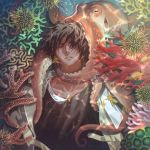 1boy arknights black_hair black_shirt closed_eyes coral facing_viewer fish highres jacket jewelry male_focus manjyufroth necklace octopus shirt solo thorns_(arknights) underwater upper_body white_jacket