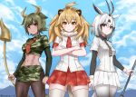 3girls abs animal_costume animal_ears antenna_hair arabian_oryx_(kemono_friends) arms_at_sides aurochs_(kemono_friends) bare_arms big_hair black_hair blonde_hair breast_pocket cat_girl closed_mouth collared_shirt commentary_request cow_ears cow_girl cow_horns cow_tail cowboy_shot crop_top cropped_shirt cuffs dark_skin day earrings empty_eyes expressionless extra_ears fur_collar gazelle_ears gazelle_tail grey_eyes grey_hair highres holding holding_weapon horns jewelry kemono_friends lion_(kemono_friends) lion_costume lion_ears lion_tail long_sleeves looking_at_viewer medium_hair midriff miniskirt multiple_girls navel necktie outdoors pantyhose pencil_skirt plaid plaid_neckwear plaid_skirt plaid_sleeves pleated_skirt pocket polearm red_neckwear riro_(breakthrough_rr) shirt short_over_long_sleeves short_sleeves sidelocks skirt smile standing stomach striped striped_neckwear tail thigh-highs toned two-tone_background weapon wing_collar yellow_eyes zettai_ryouiki