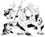 1boy 1girl animal_ears animal_on_leg animal_on_shoulder arknights clothes_around_waist eyewear_on_head fate/grand_order fate_(series) feater_(arknights) fighting_stance hekate highres jacket jacket_around_waist jacket_on_shoulders li_shuwen_(fate) monochrome panda panda_ears sports_bra sunglasses twintails