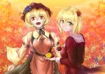 2girls absurdres aki_minoriko aki_shizuha akuron apron autumn autumn_leaves black_neckwear black_skirt blonde_hair bow breasts clouds eyebrows_visible_through_hair food food_themed_hair_ornament fruit gradient_clothes gradient_skirt grape_hair_ornament grapes hair_ornament hat highres huge_filesize large_breasts leaf leaf_hair_ornament leaf_on_head long_sleeves looking_at_viewer maple_leaf mob_cap multiple_girls open_mouth orange_eyes orange_sky outdoors red_apron red_eyes red_headwear red_shirt red_skirt shirt short_hair signature skirt sky small_breasts smile sweet_potato touhou wide_sleeves yellow_eyes yellow_shirt