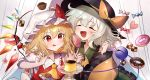 2girls :d absurdres black_headwear blonde_hair blush bow candy checkerboard_cookie clenched_hand closed_eyes cookie cupcake doughnut flandre_scarlet food glint hat hat_bow highres holding holding_spoon huge_filesize komeiji_koishi lollipop mob_cap multiple_girls omodaka_romu open_mouth orange_bow pudding red_eyes red_nails short_hair silver_hair simple_background smile spoon tongue tongue_out touhou upper_body white_headwear wings wrapped_candy yellow_neckwear