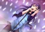 1girl arms_up bangs blue_hair blush commentary_request hair_ribbon highres holding holding_microphone jacket long_hair love_live! love_live!_school_idol_project microphone microphone_stand music open_clothes open_jacket open_mouth ribbon simple_background singing solo sonoda_umi stage standing tina_(pixiv37050289) twitter_username yellow_eyes