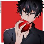 1boy apple bangs black_hair black_jacket black_shirt collared_shirt commentary_request crossed_bangs face food fruit hair_between_eyes holding holding_food jacket looking_at_viewer male_focus nakiri_asahi red_background shirt shokugeki_no_souma short_hair solo twitter_username two-tone_background uiui_(hage04195) upper_body white_background