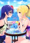 2girls arm_support ayase_eli bangs bikini blonde_hair blue_eyes blue_hair blush commentary_request crazy_straw day drink drinking drinking_straw food from_side fruit hair_between_eyes heart_straw highres lemon lemon_slice long_hair looking_at_another love_live! love_live!_school_idol_project multiple_girls nail_polish nanatsu_no_umi outdoors ponytail scrunchie shared_drink shared_straw sharing sipping sitting sonoda_umi staring staring_contest swimsuit tropical_drink yellow_eyes