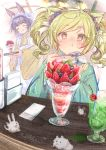 +_+ 2girls :3 :t ^_^ ahoge animal_ear_fluff animal_ears apron bangs blonde_hair blue_flower blush blush_stickers brown_eyes brown_flower closed_eyes closed_mouth commentary cup drinking_glass drinking_straw eating eyebrows_visible_through_hair flower frilled_apron frills green_kimono hair_flower hair_ornament hands_up highres holding holding_spoon holding_tray indoors ittokyu japanese_clothes kimono long_sleeves maid_apron multiple_girls nose_blush original parfait purple_hair short_eyebrows signature spoon standing symbol_commentary thick_eyebrows tray twintails wa_maid white_apron wide_sleeves yellow_kimono