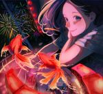 1girl absurdres aerial_fireworks black_hair crowd fireworks fish food_stand from_above goldfish highres lights looking_at_viewer night night_sky original shi-masu sky smile solo_focus summer_festival