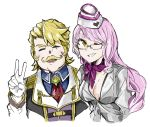 1boy 1girl blonde_hair breasts choker earrings epaulettes facial_hair fate/grand_order fate_(series) garrison_cap glasses gloves goldorf_musik hat highres image_sample jacket jewelry koyanskaya large_breasts long_hair looking_at_viewer mustache necktie pink_hair ribbon ribbon_choker sakeno_rarukan smile twitter_sample white_gloves yellow_eyes