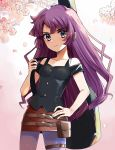 1girl blue_eyes breasts cherry_blossoms closed_mouth collarbone eyebrows_visible_through_hair guitar_case hand_on_hip highres holding honi_hogya instrument_case kirishima_romin long_hair looking_at_viewer miniskirt pants pencil_skirt purple_hair purple_pants red_skirt shiny shiny_hair shoulder_cutout skirt small_breasts solo thigh_strap very_long_hair yu-gi-oh! yu-gi-oh!_sevens