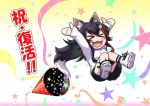 >_< 1girl :3 :d animal_ears arms_up black_hair chibi hair_ornament hairclip highlights hololive kagelantern knees_together_feet_apart long_hair long_sleeves midair multicolored_hair ookami_mio open_mouth party_popper redhead shoes shorts smile sneakers socks solo star_(symbol) streamers tail very_long_hair wolf_ears wolf_girl wolf_tail xd