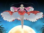 black_hair closed_eyes floating full_moon houraisan_kaguya japanese_clothes jeweled_branch_of_hourai long_hair moon skirt touhou