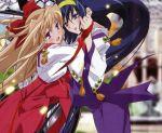 blonde_hair blue_hair bow fujii_maki hairband himemiya_chikane holding_hands hug japanese_clothes kannazuki_no_miko kurusugawa_himeko long_hair miko multiple_girls official_art